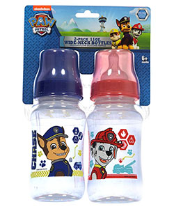 """On the Chase"" 2-Pack Wide-Neck Bottles by Paw Patrol in Royal blue/red"