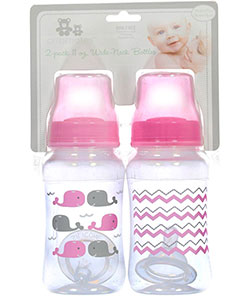 """Whale Swim"" 2-Pack Wide-Neck Bottles by Cribmates in Pink"