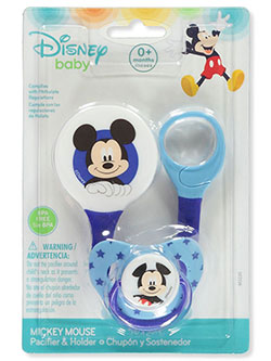 Mickey Mouse Pacifier & Holder Set by Disney in blue and light blue