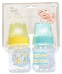2-Pack Wide-Neck Bottles by Cribmates in Yellow/aqua