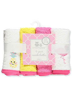 4-Pack Washcloths by Cribmates in Pink/white
