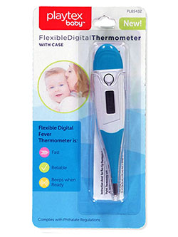 Baby Flexible Digital Thermometer with Case by Playtex in blue and pink