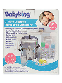 21 Piece Decorated Plastic Bottle Sterilizer Kit by Babyking in Multi