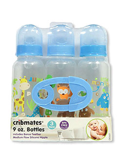 Jungle Vibes 3-Pack Bottles and Teether by Cribmates in blue and pink - Bottles