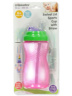 Swivel Lid Sports Cup with Straw by Cribmates in Fuchsia