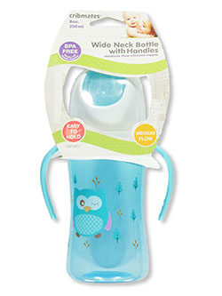 Wide Neck Bottle with Handles by Cribmates in blue, brown and pink