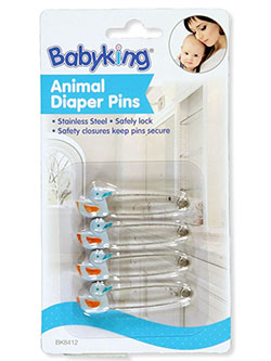 4-Pack Animal Diaper Pins by Babyking in blue, pink, white and yellow