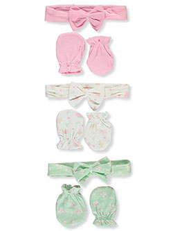 6-Pack Headbands & Scratch Mitts Set by Petite L'amour in Pink/multi, Infants