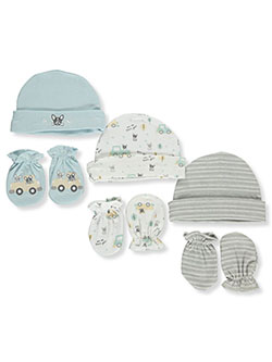 6-Pack Caps & Scratch Mitts Set by Petite L'amour in Blue/multi, Infants