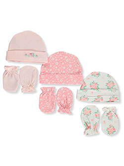 6-Pack Caps & Scratch Mitts Set by Petite L'amour in Multi, Infants