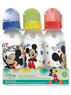 Mickey Mouse 3-Pack Baby Bottles by Disney in Blue/multi