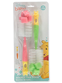2-Pack Bottle Brushes by Disney Winnie The Pooh in blue, green/blue, pink and pink/green
