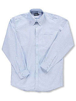 Adult Unisex' L/S Button-Down Shirt by Kaynee in blue, white and yellow - $19.99