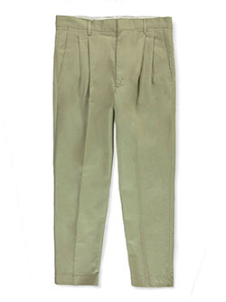 Big Boys' Husky Basic Pleated Pants by Rifle in khaki and navy