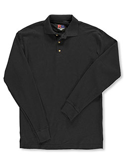"Men's L/S Pique ""Sport"" Pique Polo by Kaynee in Black"