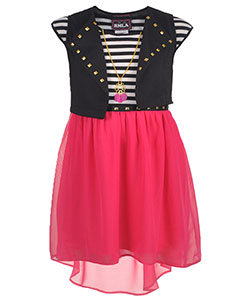 "RMLA Little Girls' ""Studded Hearts"" 2-Piece Outfit with Necklace (Sizes 4 – 6X) - CookiesKids.com"