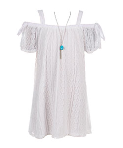 RMLA Girls' Cold Shoulder Dress with Necklace - CookiesKids.com