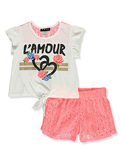 Girls' 2-Piece Shorts Set Outfit by RMLA in Neon coral