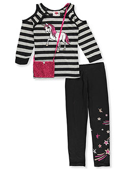 Girls' 2-Piece Leggings Set Outfit with Purse by RMLA in Black