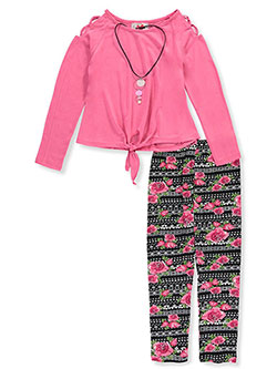 2-Piece Leggings Set Outfit with Necklace by RMLA in Pink