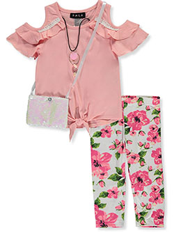 RMLA Girls Fluttery Cold Shoulder 2-Piece Leggings Set Outfit with Necklace