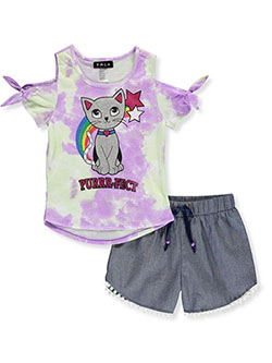 Tie Dye and Glitter 2-Piece Shorts Set Outfit by RMLA in Lavender, Girls Fashion