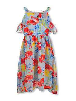 Girls' Floral Flounce Hi-Low Dress by RMLA in Blue