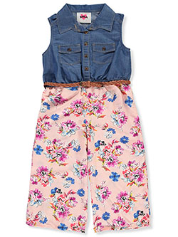 Flowers and Denim Sleeveless Jumpsuit with Belt by RMLA in Blush
