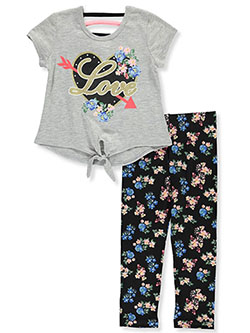 Floral Love 2-Piece Leggings Set Outfit by RMLA in Heather gray