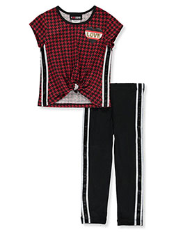 Houndstooth Love 2-Piece Pants Set Outfit by #GIRLSQUAD in Red