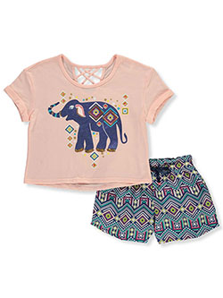 Ikat Elephant 2-Piece Shorts Set Outfit by RMLA in Blush