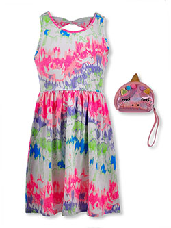 Girls' Unicorn Tie-Dye Dress with Purse by RMLA in Multi