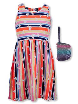 Girls' Butterfly Stripe Dress with Purse by RMLA in Multi