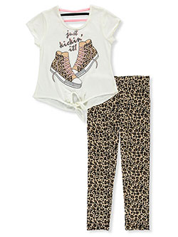 Leopard Kicks 2-Piece Leggings Set Outfit by RMLA in Ivory
