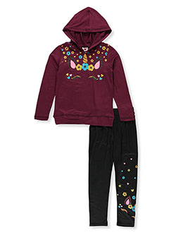 Girls' Unicorn 2-Piece Leggings Set Outfit by RMLA in Burgundy