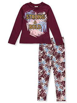 Strong & Bold 2-Piece Leggings Set Outfit by RMLA in Burgundy, Girls Fashion