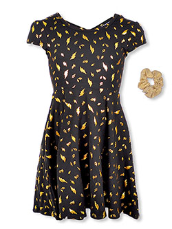 Girls' Lightning Dress with Hair Tie by RMLA in Black