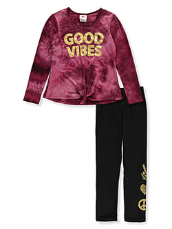 Girls' Good Vibes 2-Piece Leggings Set Outfit by RMLA in Burgundy