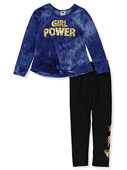 Girls' Girl Power 2-Piece Leggings Set Outfit by RMLA in Navy