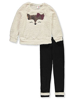 Girls' Plush Fox 2-Piece Leggings Set Outfit by RMLA in Ivory