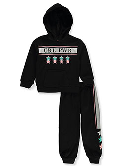 Girls' Grl Pwr 2-Piece Sweatsuit Outfit by RMLA in Black