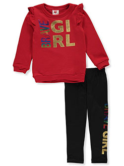 Girls' Brave Girl 2-Piece Leggings Set Outfit by RMLA in Red