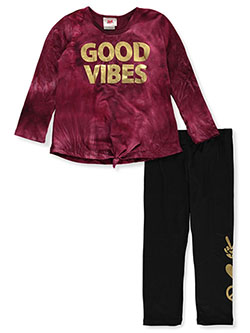 Girls' Good Vibes 2-Piece Leggings Set Outfit by RMLA in Burgundy, Girls Fashion