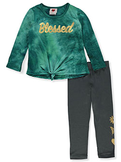 Girls' Blessed 2-Piece Leggings Set Outfit by RMLA in Jade green