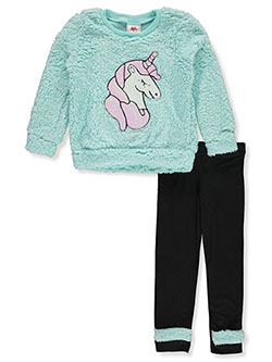 Plush Unicorn 2-Piece Leggings Set Outfit by RMLA in Seafoam black