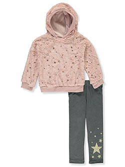 Girls' Plush Star 2-Piece Leggings Set Outfit by RMLA in Blush