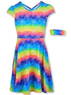 Girls' Allover Print Dress With Headband by RMLA in rainbow and turquoise