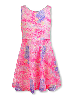 Girls' Rainbow Floral Lace Dress by RMLA in Yellow/pink