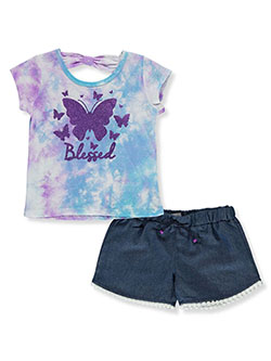 Blessed Butterfly 2-Piece Shorts Set Outfit by RMLA in Lavender, Girls Fashion