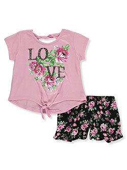 Girls' Love Rose 2-Piece Shorts Set Outfit by RMLA in Mauve